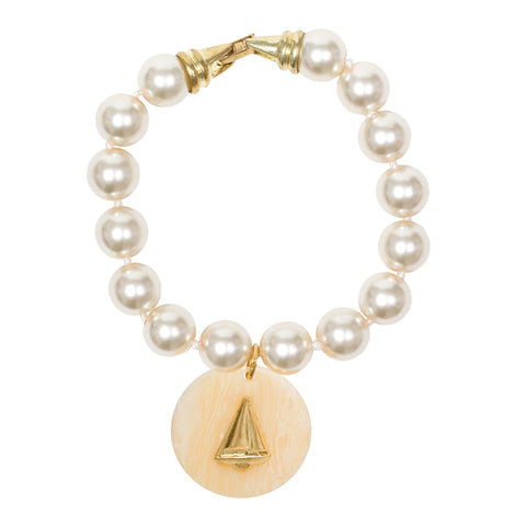 Cream Pearl Resin Charm Bracelet - Creamy Tortoise Sailboat