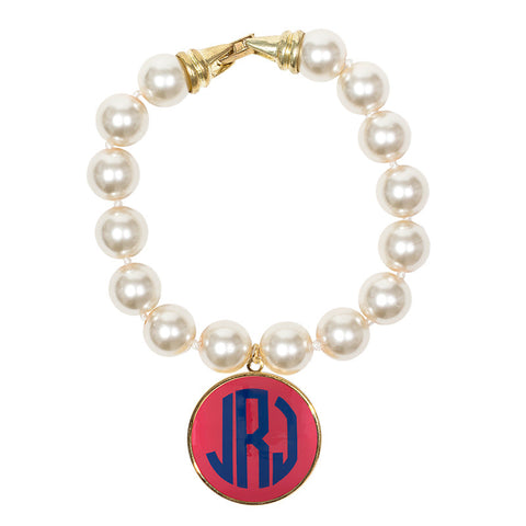 Cream Pearl Enamel Monogram Bracelet - Hot Pink with Blue monogram