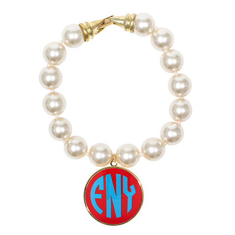 Cream Pearl Enamel Monogram Bracelet - Coral with Light Blue monogram