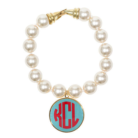 Cream Pearl Enamel Monogram Bracelet - Aqua with Red monogram