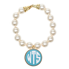 Cream Pearl Enamel Monogram Bracelet - Aqua with white monogram