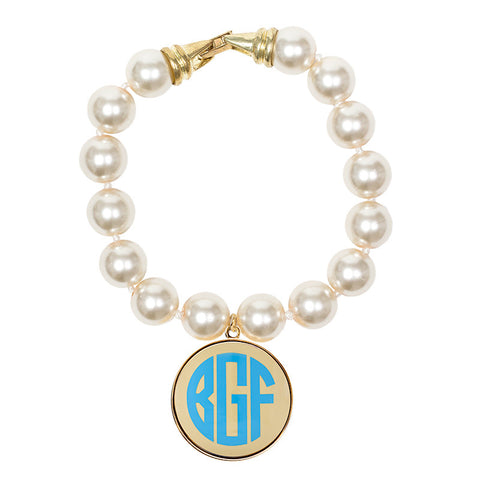 Cream Pearl Enamel Monogram Bracelet - Cream with Light Blue monogram