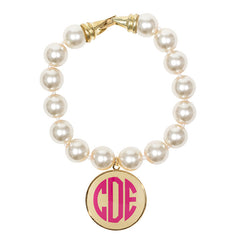 Cream Pearl Enamel Monogram Bracelet - Cream with Hot Pink monogram