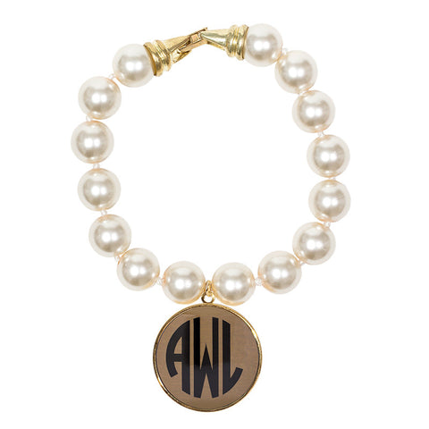 Cream Pearl Enamel Monogram Bracelet - Gold with Black monogram