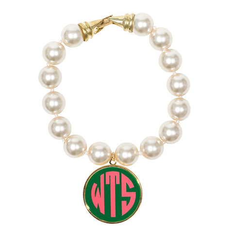Cream Pearl Enamel Monogram Bracelet - Green with Light Pink monogram