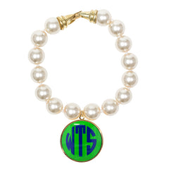 Cream Pearl Enamel Monogram Bracelet - Lime with Navy monogram