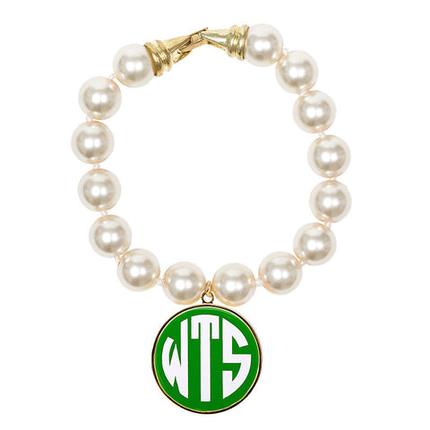 Cream Pearl Enamel Monogram Bracelet - Lime with white monogram