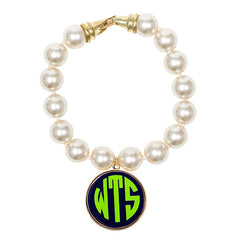 Cream Pearl Enamel Monogram Bracelet - Navy with Lime Green monogram
