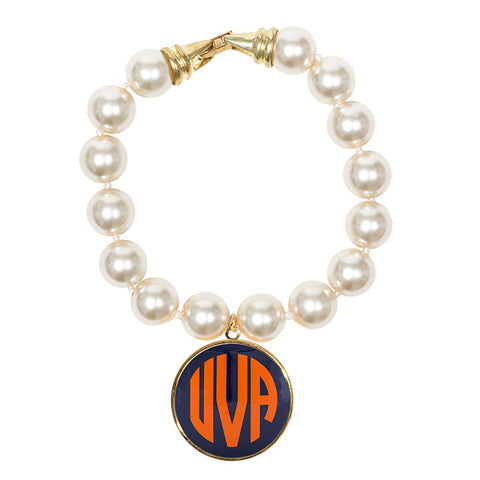 Cream Pearl Enamel Monogram Bracelet - Navy with Orange monogram