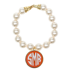Cream Pearl Enamel Monogram Bracelet - Orange with White monogram