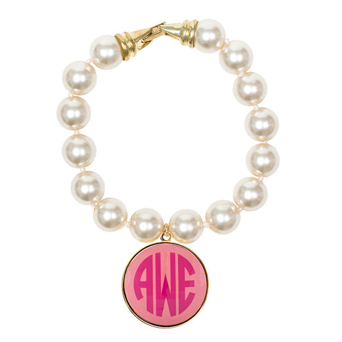 Cream Pearl Enamel Monogram Bracelet - Light Pink with Hot Pink monogram