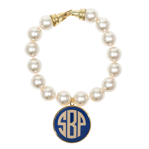 Cream Pearl Enamel Monogram Bracelet - Periwinkle with Cream monogram