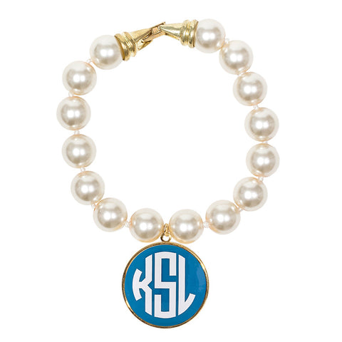 Cream Pearl Enamel Monogram Bracelet - Turquoise with White monogram