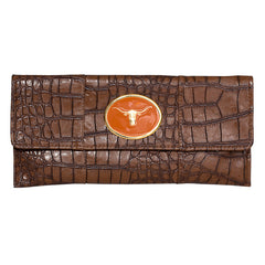 Crocodile Embossed Clutch - Chocolate - Steer Head