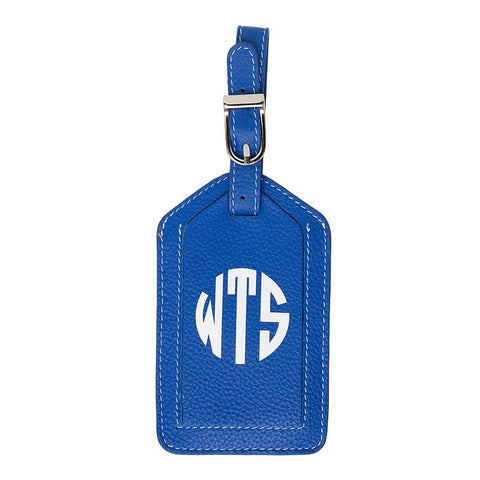 Leather Monogrammed Luggage Tag - Cobalt/White