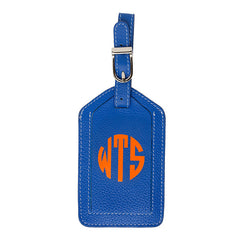 Leather Monogrammed Luggage Tag - Cobalt/Orange