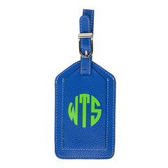 Leather Monogrammed Luggage Tag - Cobalt/Lime Green