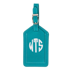 Leather Monogrammed Luggage Tag - Aqua/White