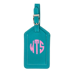 Leather Monogrammed Luggage Tag - Aqua/Light Pink
