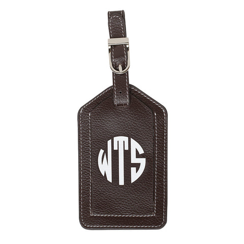 Leather Monogrammed Luggage Tag - Chocolate Brown/White
