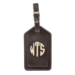 Leather Monogrammed Luggage Tag - Chocolate Brown/Cream