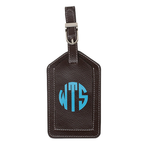 Leather Monogrammed Luggage Tag - Chocolate Brown/Aqua