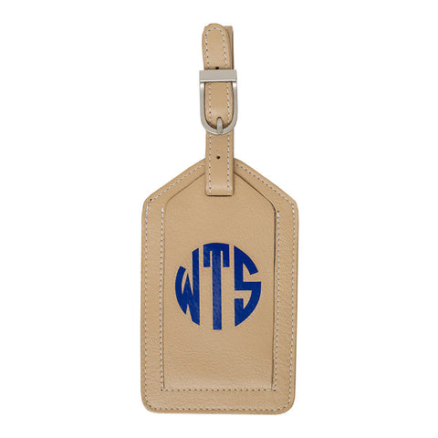 Leather Monogrammed Luggage Tag - Beige/Royal