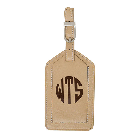 Leather Monogrammed Luggage Tag - Beige/Chocolate