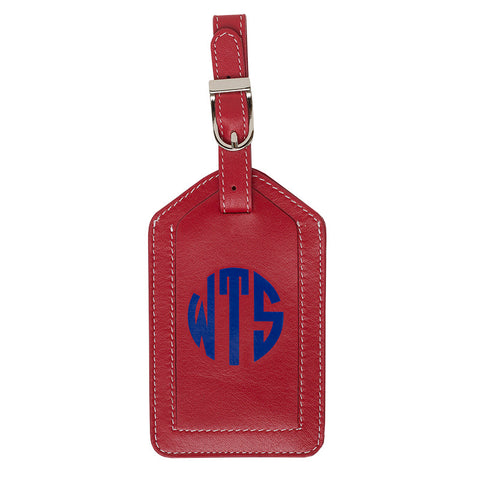 Leather Monogrammed Luggage Tag - Red/Royal
