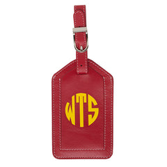 Leather Monogrammed Luggage Tag - Red/Yellow