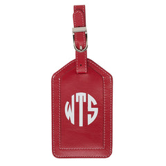 Leather Monogrammed Luggage Tag - Red/White