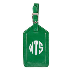 Leather Monogrammed Luggage Tag - Emerald Green/White