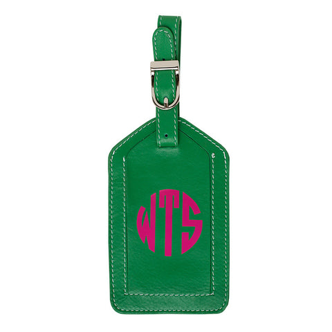 Leather Monogrammed Luggage Tag - Emerald Green/Hot Pink