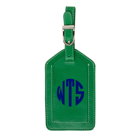 Leather Monogrammed Luggage Tag - Emerald Green/Royal