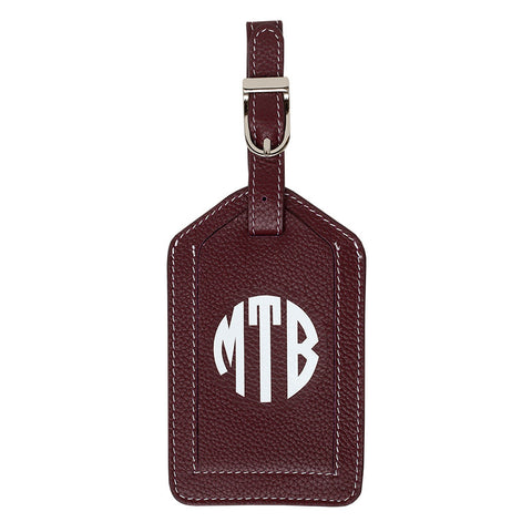 Leather Monogrammed Luggage Tag - Toffee/White