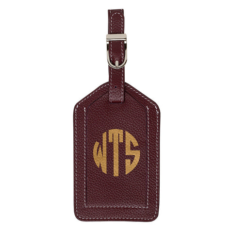 Leather Monogrammed Luggage Tag - Toffee/Gold