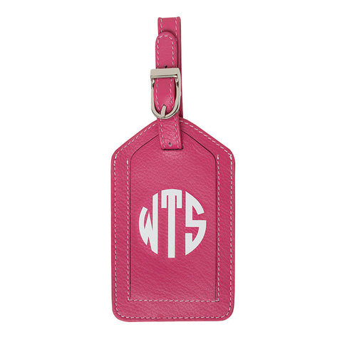 Leather Monogrammed Luggage Tag - Hot Pink/White