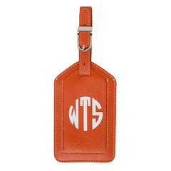 Leather Monogrammed Luggage Tag - Orange/White