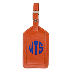 Leather Monogrammed Luggage Tag - Orange/Royal