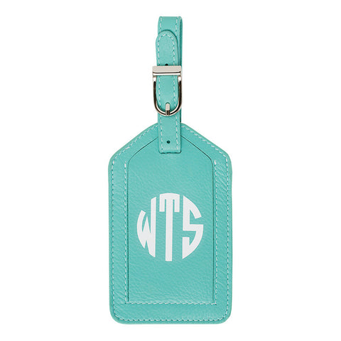 Leather Monogrammed Luggage Tag - Turquoise/White