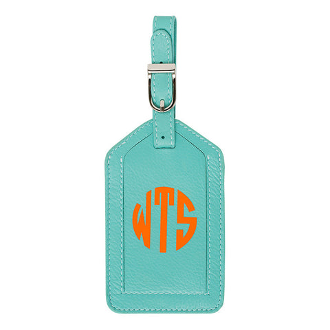 Leather Monogrammed Luggage Tag - Turquoise/Orange