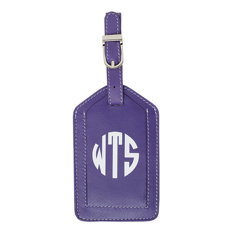 Leather Monogrammed Luggage Tag - Purple/White