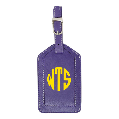 Leather Monogrammed Luggage Tag - Purple/Yellow