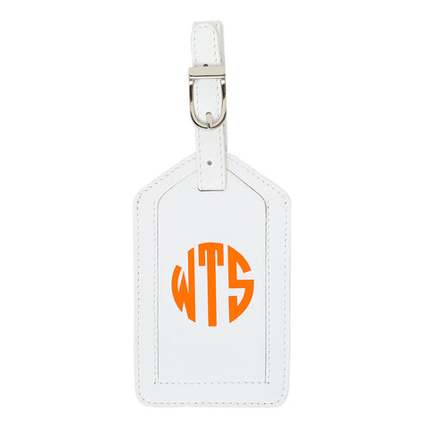 Leather Monogrammed Luggage Tag - White/Orange