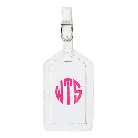 Leather Monogrammed Luggage Tag - White/Hot Pink