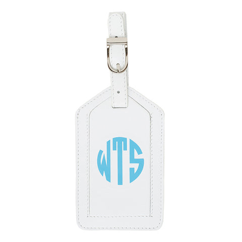 Leather Monogrammed Luggage Tag - White/Aqua