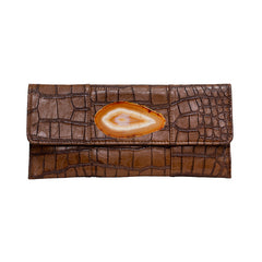 Crocodile Embossed Clutch - Chocolate Brown with agate slab