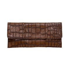 Crocodile Embossed Clutch - Chocolate Brown