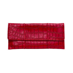 Crocodile Embossed Clutch - Red