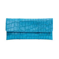 Crocodile Embossed Clutch - Turquoise